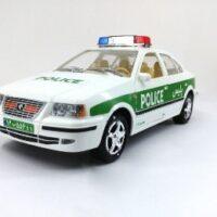 ماشین بازی در باز شو ،طرح پلیس مدل سمند (رنگ آبی و سبز)